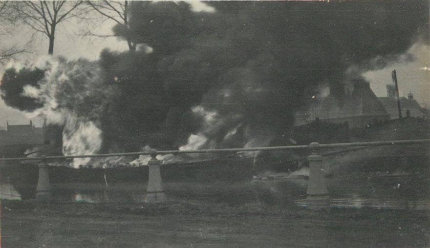 The burning barge