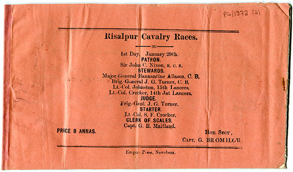 Souvenir programme of the Risalpur Cavalry Races