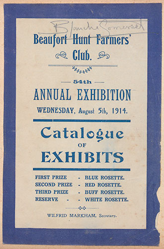 Programme of the Beaufort Hunt Farmers' Club Annual Exhibition