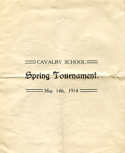 Programme of the Cavalry School spring tournament, 1914