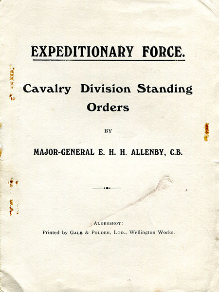 Expeditionary Force Cavalry Division Standing Orders by General Allenby