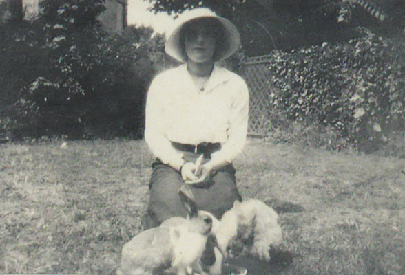 Ione Armstrong with rabbits