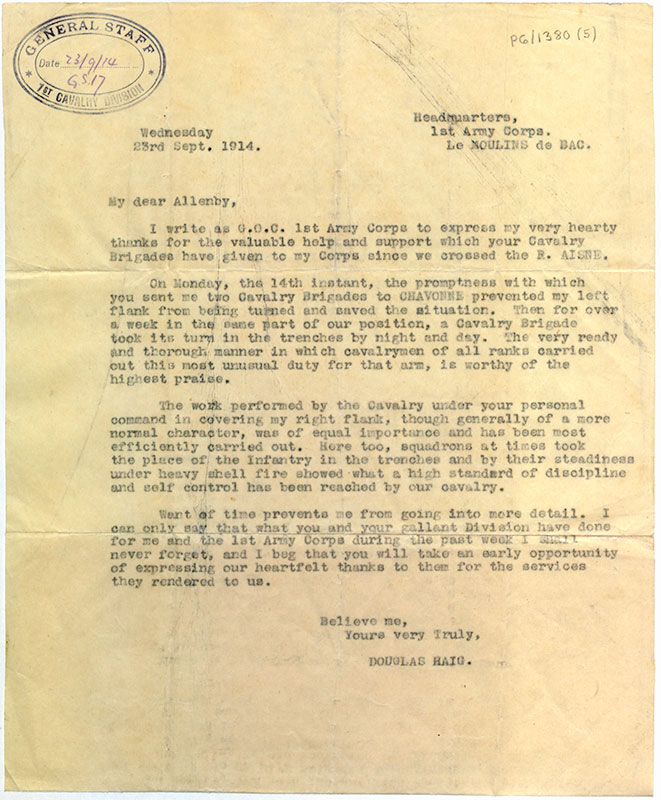 Letter from Douglas Haig to Edmund Allenby