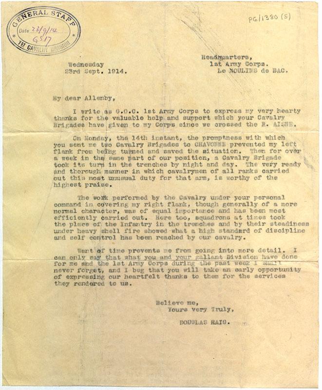 Letter from Douglas Haig to Edmund Allenby