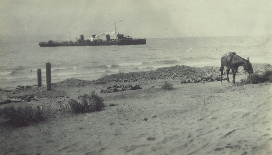 A destroyer off Gully Beach