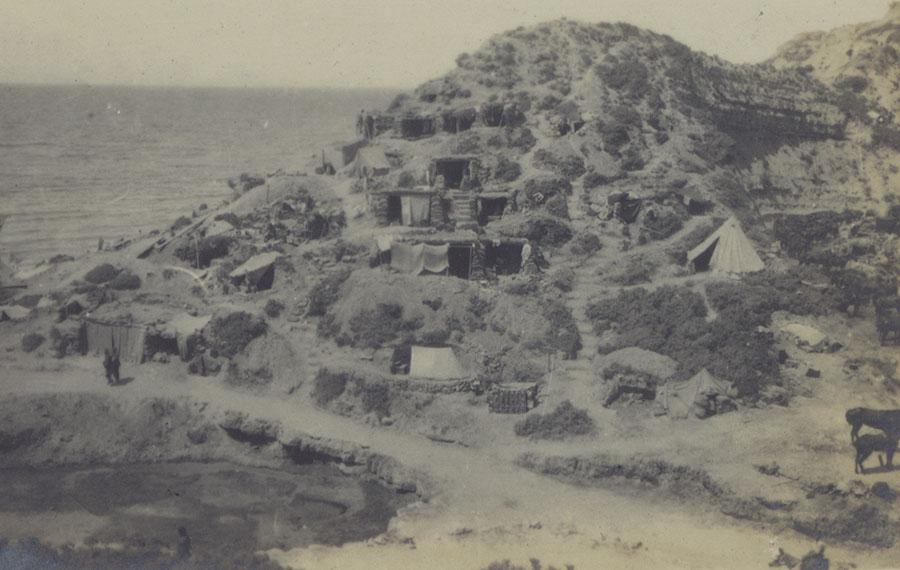 Dugouts on Gully Beach, Gallipoli