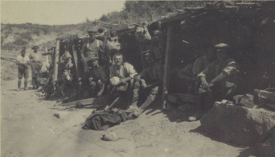 British soldiers in a captured Turkish trench