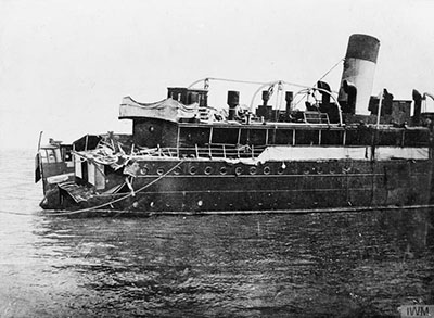 The damaged SS Sussex