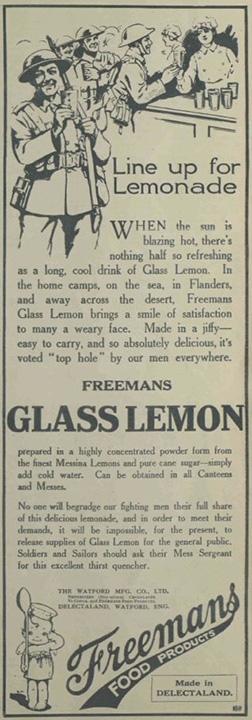 Advertisement promoting Freemans glass lemon