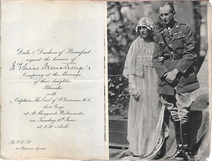 Page from Jess Armstrong's album containing an invitation to Blanche Somerset's wedding and a related press cutting