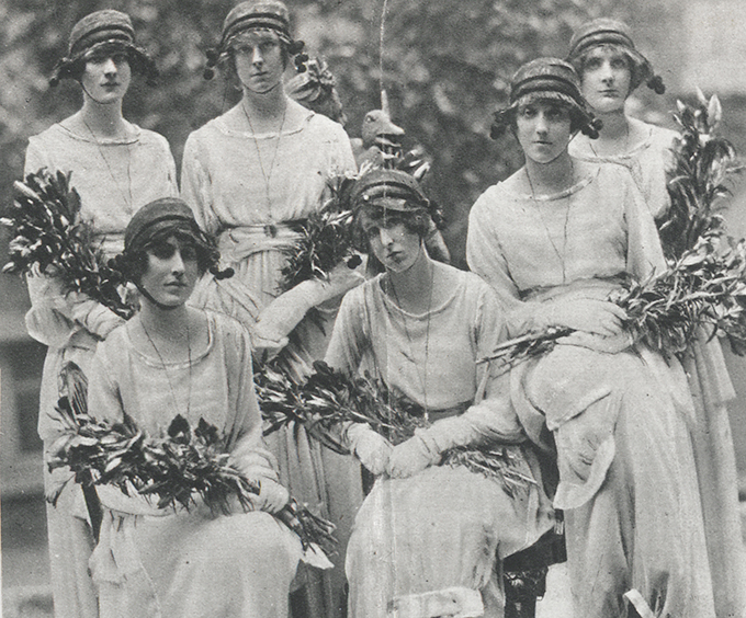 Press cutting from Jess Armstrong's album bearing a photograph of Blanche Somerset's bridesmaids