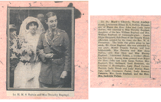 Press cutting describing Harry Tufton's wedding